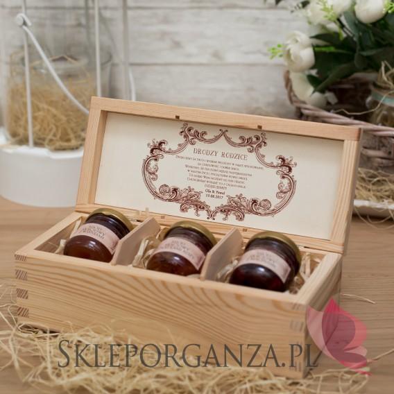 Szkatułki z miodami Zestaw miodów w szkatułce - mały - personalizacja Vintage