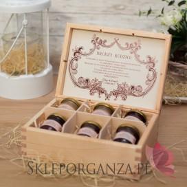 Szkatułki z miodami Personalizowany zestaw miodów w szkatułce - średni