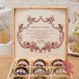 Szkatułki z miodami Zestaw miodów w szkatułce - duży - personalizacja Vintage