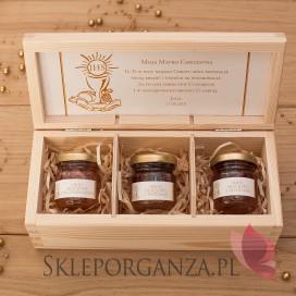 Personalizowany zestaw miodów w szkatułce - mały - Kolekcja ZŁOTA