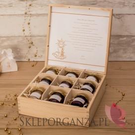 Personalizowany zestaw miodów w szkatułce - duży - Kolekcja ZŁOTA
