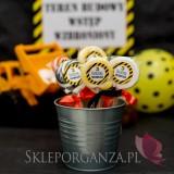 Kolekcja Koparka urodzinowa Lizak okrągły pomarańczowy KOLEKCJA KOPARKA - PERSONALIZACJA
