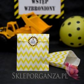 Kolekcja Koparka urodzinowa Torebka żółta chevron KOLEKCJA KOPARKA - PERSONALIZACJA