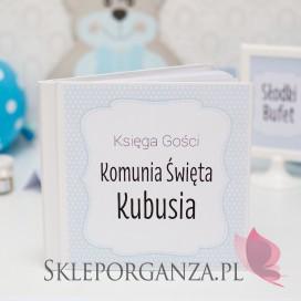 Kolekcja Kropeczki -Księga gości KOMUNIA KOLEKCJA KROPECZKI NIEBIESKA - PERSONALIZACJA