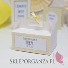 Pudełko na ciasto białe Komunia – personalizacja CHEVRON ŻÓŁTY
