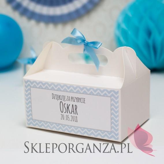 Kolekcja Chevron Pudełko na ciasto białe Komunia – personalizacja CHEVRON NIEBIESKI