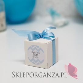 Pudełko kostka biała Komunia – personalizacja CHEVRON NIEBIESKI