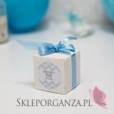 Kolekcja Chevron Pudełko kostka biała Komunia – personalizacja CHEVRON NIEBIESKI
