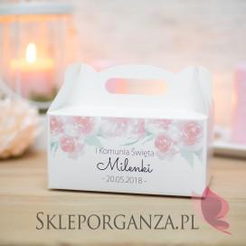 Pudełko na ciasto białe Komunia – personalizacja AKWARELE PEONIA KOMUNIA