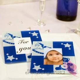 Upominki dla gości na Urodziny personalizowane Szklana podstawka chłopczyk - personalizacja