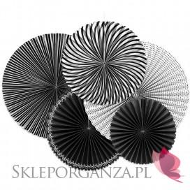 Rozety dekoracyjne czarno-białe, 5szt.