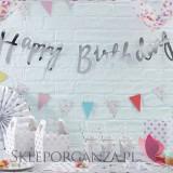 Paleta - róż, biel, srebro Baner Happy Birthday metaliczny srebrny