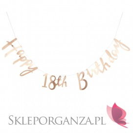 Baner Happy 18th Birthday metaliczny złoty