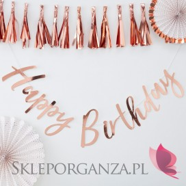 Baner Happy Birthday metaliczny rose gold