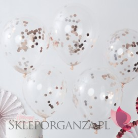 Balony z konfetti rose gold, 5szt.