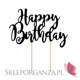 Czarny Topper na tort Happy Birthday czarny