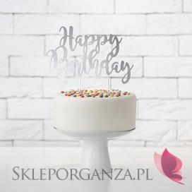 Srebrny Topper na tort Happy Birthday srebrny