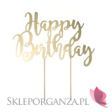 Złoty Topper na tort Happy Birthday złoty
