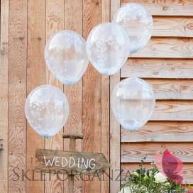 Balony z białym konfetti, 5szt.