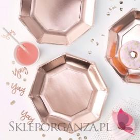Talerzyki metaliczne rose gold, 8szt.