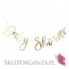 Dekoracje wiszące na Baby Shower Baner Baby Shower złoty