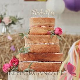 Toppery na tort Drewniany topper Mr&Mrs
