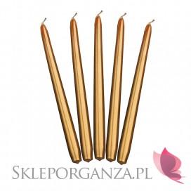 Świeczki stożkowe metaliczne złote