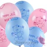 Balony Balon Miś - mam już roczek, różowy
