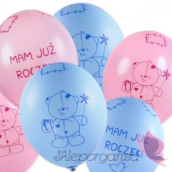 Balony Balon Miś - mam już roczek, niebieski