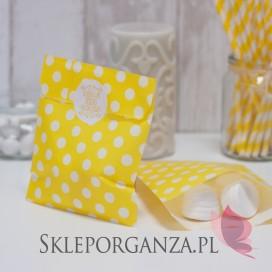 Papierowa torebka KROPKI żółta KIDS - personalizacja