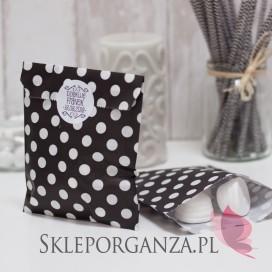 Papierowa torebka KROPKI czarna KIDS - personalizacja