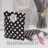 Z personalizacją Papierowa torebka KROPKI czarna KIDS - personalizacja