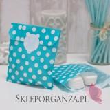 Z personalizacją Papierowa torebka KROPKI niebieska KIDS - personalizacja