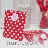 Papierowa torebka KROPKI czerwona KIDS - personalizacja