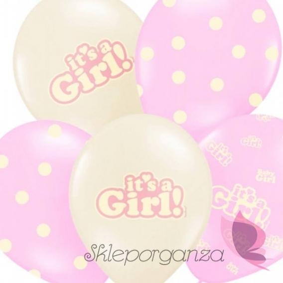 Balon It's a girl, różowy, 50szt