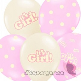 Balony It's a girl, różowe, 6szt