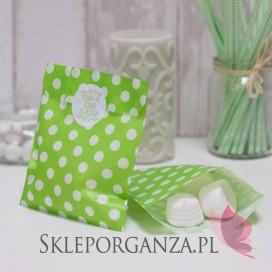 Papierowa torebka KROPKI zielona KIDS - personalizacja