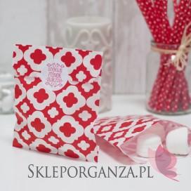 Papierowa torebka ORNAMENT czerwona KIDS - personalizacja