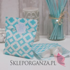 Papierowa torebka ORNAMENT jasnoniebieska KIDS - personalizacja