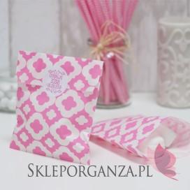 Z personalizacją Papierowa torebka ORNAMENT różowa KIDS - personalizacja