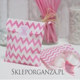 Z personalizacją Papierowa torebka CHEVRON różowa KIDS - personalizacja