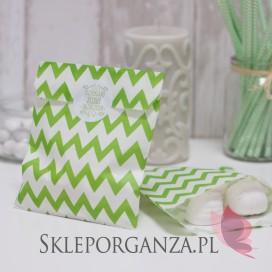 Z personalizacją Papierowa torebka CHEVRON zielona KIDS - personalizacja