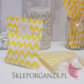 Papierowa torebka CHEVRON żółta KIDS - personalizacja