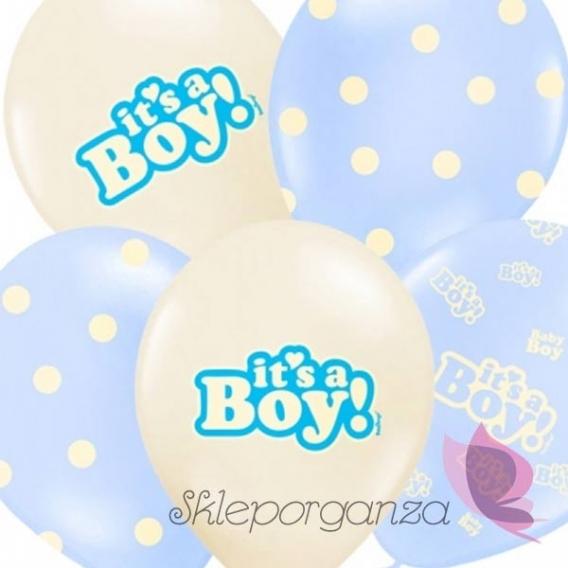 Balony Balony It's a boy, niebieskie, 6szt