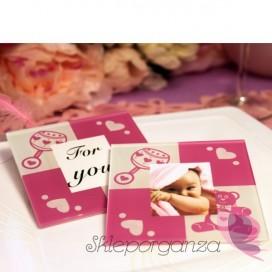 Upominki dla gości na Urodziny personalizowane Szklana podstawka dziewczynka - personalizacja