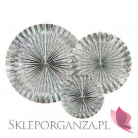 Rozety metaliczne na wesele Rozety dekoracyjne holograficzne, 3szt.