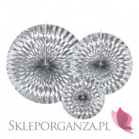 Rozety metaliczne na wesele Rozety dekoracyjne srebrne, 3szt.