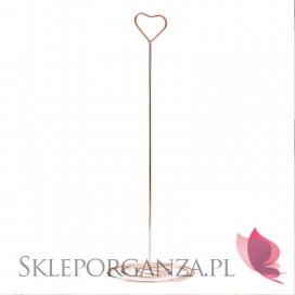 Dekoracje szklane komunijne Stojak serce rose gold