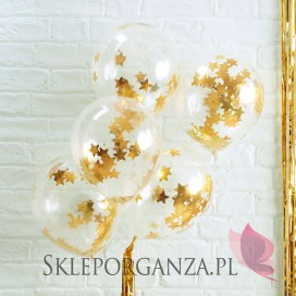 Balony ze złotym konfetti GWIAZDKI, 5szt