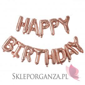 Balony na Roczek Balony HAPPY BIRTHDAY rose gold